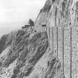 "Contract workers for the Department of Transportation built the rock walls in 1941. You can learn more about the road by visiting the gallery ""Highway 101"" in the category ""topics."""