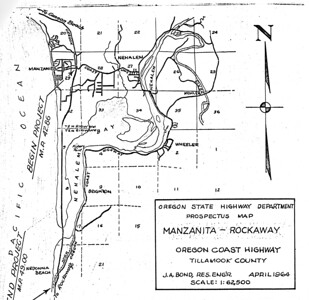 """Orginal plans for Highway 101 called for following the spit to its south end, then building a bridge to Nedonna Beach. Early visionaries for the park thought this route would allow for 1,000 campsites and """"turn the park into the Coney Island of the west.""""   For additional information, see  gallery """"Highway 101"""" in category """"topics."""""""