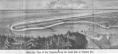 Promise of a railroad by 1911 from Portland to Nehalem Bay and south to Tillamook sparked a real estate boom for ocean resorts. Developers bought the Nehalem spit from the heirs of homesteaders.